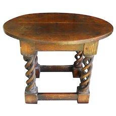 17th Century French Oak Torsade Spiral Twist Antique Pub Tavern End Table