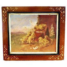 19th century Antique Baby Chicks Chicken Landscape Oil Painting