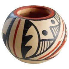 Vintage Native American Miniature New Mexico Jemez Pueblo Signed Pottery Bowl