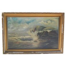 19th century Antique Stormy Seascape Sailboats Oil Painting