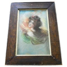 Antique Victorian Pastel Drawing Portrait Gibson Girl Lady Art Nouveau Painting