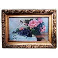 Nyquist Antique Pink Floral Roses Grapes Still Life Victorian French Oil Painting