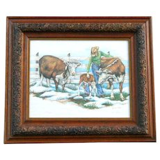 Rare Contemporary 1980 LYNN BEAN Cattle Rancher Cow Lithograph Western Landscape