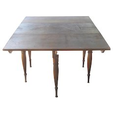 Antique 18th Century Primitive Plank Drop Leaf Rustic Country Dining Table