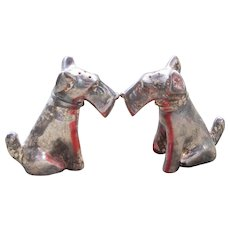 Silverplate Schnauzer Airedale Terrier Dog Weidlich Brothers Silver Salt & Pepper Shakers