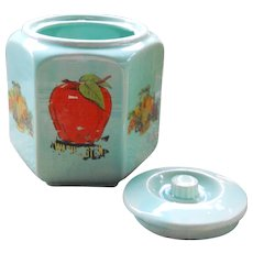 Turquoise USA Shawnee Pottery Hexagon Cookie Jar Biscuit Canister
