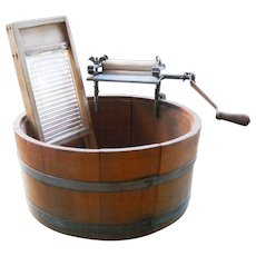 Antique Primitive Childrens Toy Wooden Hand Crank Wringer Barrel Wash Tub Washboard Rustic Folk Art