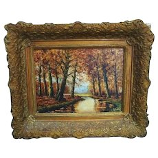 Antique Impressionist Landscape Oil Painting Signed Plein Air Autumn Forest Stream