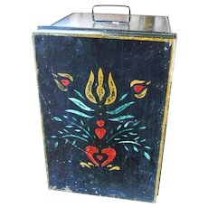 Pennsylvania Dutch Tole Folk Art Painted Country Antique 1890s Zinc Tin Pie Safe Tote