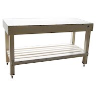 1940s White Painted Garden Industrial Factory Utility Cart Plant Potting Bench