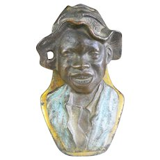 Early 1900's Judd Cast Iron Letter Paper Desktop Clip Johnny Griffin Figural Boy Black Americana