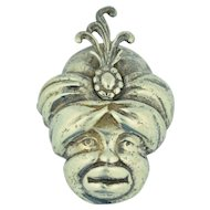 Sterling Silver Blackamoor Genie Sultan Pin ~ Brooch