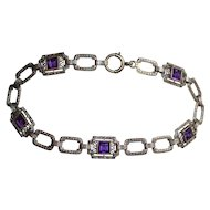 14K White Gold  ~ Art Deco Filigree ~ Etched Superior Quality Amethyst Bracelet