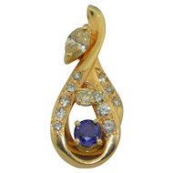 Fine 14K Diamond and sapphire Pendant Over 1 Carat of Diamonds