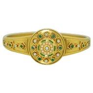 Heirloom Victorian 15K Emerald Pearl and Enamel Bracelet