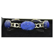 Art Deco 18K White Gold With Ultra Fine Lapis & Diamond Bracelet