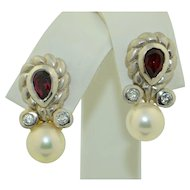Vintage 14K White Gold Garnet Diamonds and Pearl Earrings