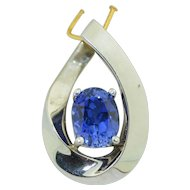 14K White Gold  2CT Tanzanite Pendant - Very Fine Stone