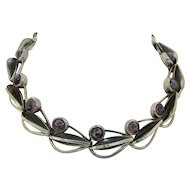Amazing Sterling Silver & Art Glass Modernist Necklace