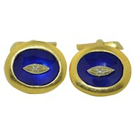 European 18k Diamond and Royal Blue Enamel Cufflinks 21.5 grams