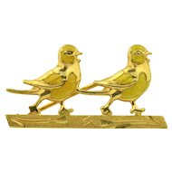 18K Yellow Enamel Sweet love Bird Brooch