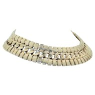 Fabulous 1950's Sterling Silver & Silver Plate Collar Necklace
