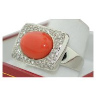 Signed Rajola 18K White Gold Mediterranean Coral with Pave' Diamond Ring