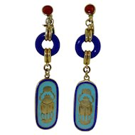Art Deco Enamel Sterling Silver Gold Gilt Egyptian Revival Earrings