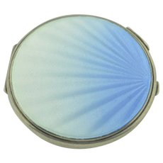 Art Deco Sterling Silver Blue Guilloche Enamel Mirrored Compact Powder Case