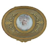 Victorian French Hand Painted Bronze Trinket Jewelry Casket Box