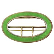 Fabulous Art Deco Sterling Silver Bright Green Enamel Brooch & Belt Buckle