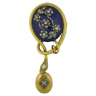 Georgian 18K Yellow Gold Diamond and Sapphire Enamel Snake Locket Brooch