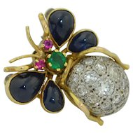 Large Platinum 14k Insect Pendant - Brooch with Sapphires Emerald Rubies & Diamonds