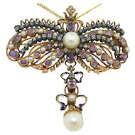 Amazing Victorian 19K Pendant Pin with Pearls Amethysts Diamonds