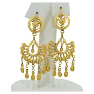 Vintage 18K Chandelier Dangle Earrings