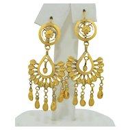 Vintage 18K Chandelier Dangle Earrings