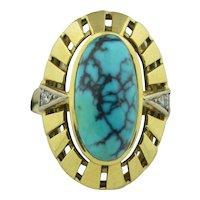Retro 14K Spider Turquoise & Diamond Ring