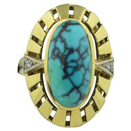 Retro 14K Spider Turquoise & Diamond Ring
