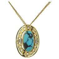 Retro 14K Spider Turquoise & Diamond Pin ~ Pendant