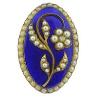 Georgian 10K Enamel Pearls & Diamond Brooch