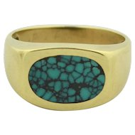 10K Yellow Gold  Mens Spider Turquoise Ring