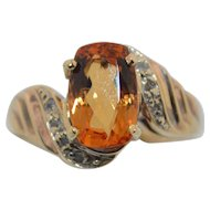 Imperial Topaz 2.25 CTW with Diamonds 10K Ring