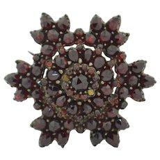 Victorian Sterling Silver Gilt Rose Cut Garnet Pin Brooch Snowflake