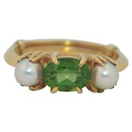 Vintage 14K  Green Tourmaline & Pearl Ring