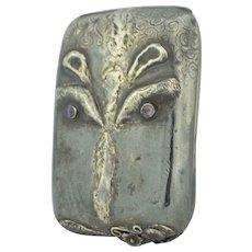 English Sterling Silver Tramp Art Hippopotamus Case Box