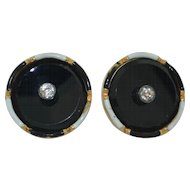 14K Black Onyx Sapphire & Enamel Buttons (2)