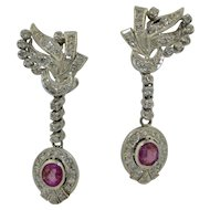 Fabulous Platinum Diamond and Ruby Dangling Earrings
