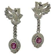 Fabulous Platinum Diamond and Ruby Dangling Earrings