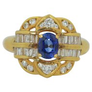 18K Blue Sapphire with 1CTW Diamond Ring  Yellow Gold