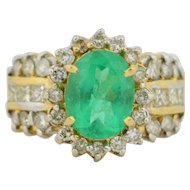 14K Retro 3 Carat Emerald & Diamond Ring